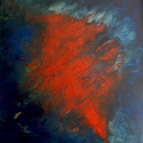 Eruption sous-marine, 50x50 cm, huile sur toile, 2010