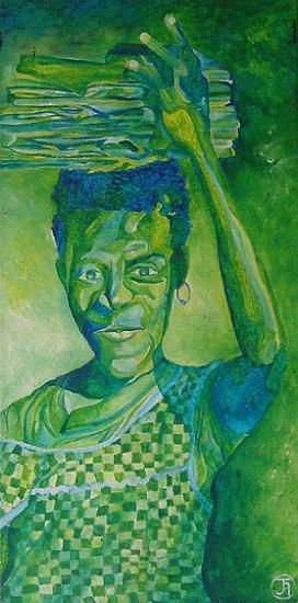 Enfant africaine aux livres, 30x60 cm, peinture acrylique, 2004