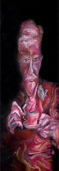 Vieil Homme à la tasse, 25x75 cm, huile sur toile, 2005
