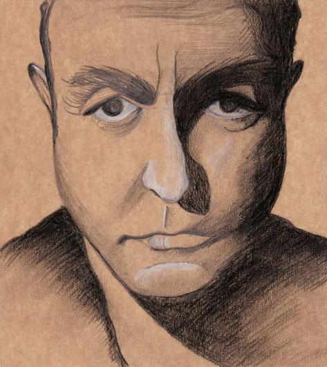 Homme, mine de plomb, pierre noire et crayon blanc sur carton, 2006