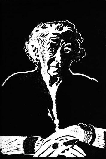 Vieille Femme aux Bijoux-1, 28x40 cm, encre sur papier, 2006
