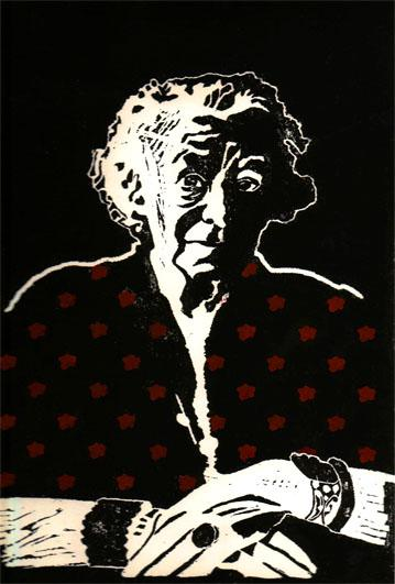 Vieille Femme aux Bijoux-2, 28x40 cm, encre sur papier, 2006