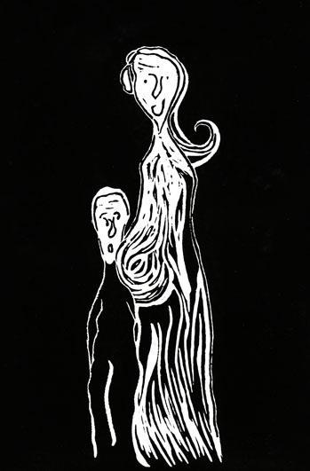 L'attente, 19x29 cm, encre sur papier, 2010