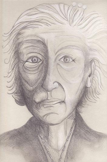 Vieille femme-2, mine de plomb, pierre noire et crayon blanc sur papier gris, 2006