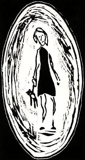 Portrait avec nounours, 10x19 cm, encre sur papier, 2010