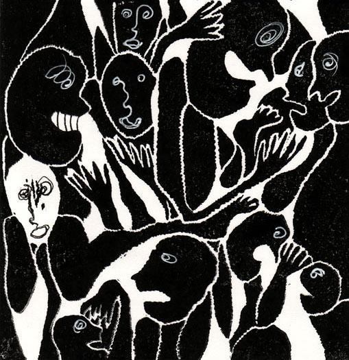 banquet, 10x10 cm, encre sur papier, 2010