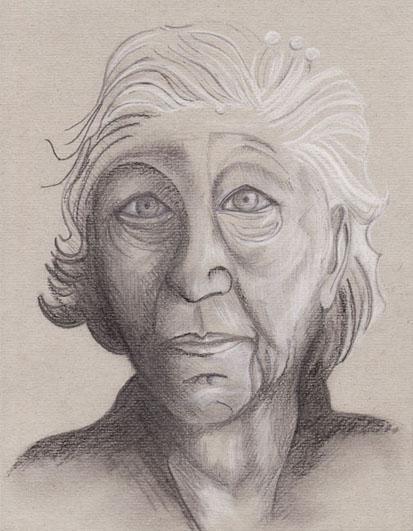 Titre : Vielle femme-1, mine de plomb, pierre noire et crayon blanc sur papier gris, 2006
