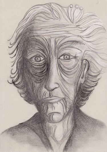 Vieille femme-3, mine de plomb, pierre noire et crayon blanc sur papier gris Date, 2006