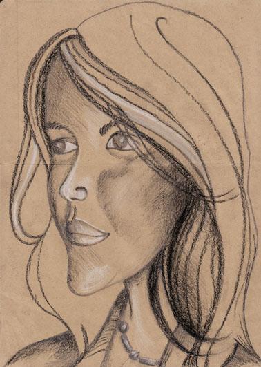 Jeune Femme, mine de plomb, pierre noire et crayon blanc sur papier, 2006