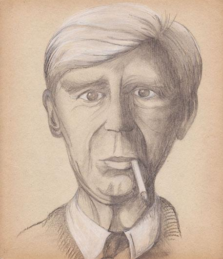 L'homme à la cigarette, mine de plomb, pierre noire et crayon blanc sur carton, 2006