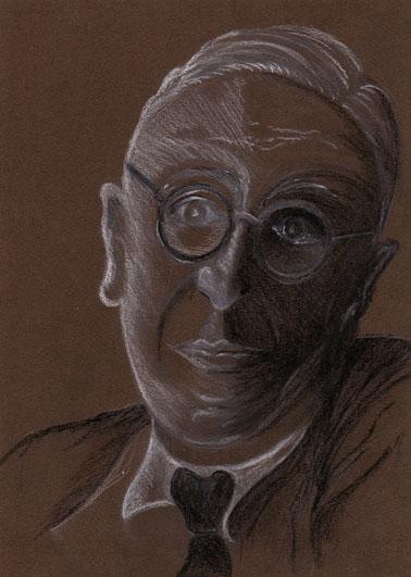 Réflexion,mine de plomb, pierre noire et crayon blanc sur papier marron, 2006