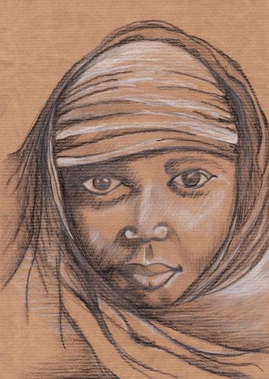 Jeune Fille au turban, mine de plomb, pierre noire et crayon blanc sur papier, 2006